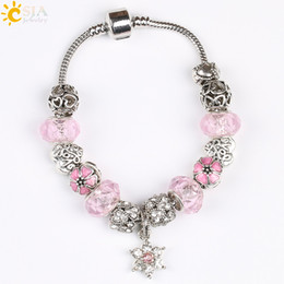 Wholesale Shambhala Pendant - CSJA Love Snowflake Flower Pendant Female Charms Plated Silver Bracelet Shambhala Beads Bangle Purple Pink Crystal European Jewellery E200