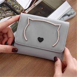 Wholesale Mini Square Cell Phone - 2017 New Women Cute Cat Short Wallets PU Leather Coin Purses Wallets & Holders Card Mini Wallets For Lady Gift