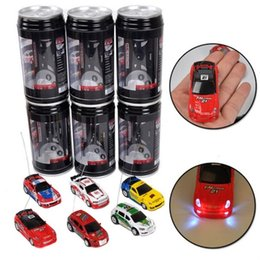 Wholesale Car Led Toys - Mini RC Racing Car 1:64 Coke Zip-top Pop-top Can 4CH Radio Control Vehicle LED Light 4 Colors Toys for Kids