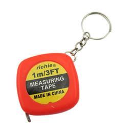 Wholesale Measure Rings - Wholesale- AYHF-2pcs Portable Mini Round Stainless Steel Measuring Tape (100 cm)Tape measure Measuring flexible rule tape with Key Ring