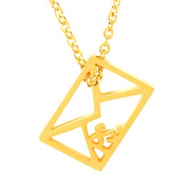 Wholesale Miss Pendant - Wholesale 10Pcs lot 2017 New Arrival Stainless Steel Jewelry Pendant Envelope Ps I Miss You Love Letters Gold Chains Statement Necklace