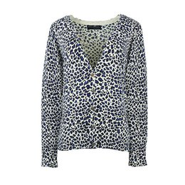 Wholesale Leopard Knit Sweater - Wholesale- Leopard Knitted Cardigans Women 2017 Spring And Fall Short Slim Printed Long Sleeves Sweater Coats Female OL Knitting Sweaters