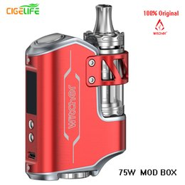 Wholesale E Cigarettes Refills - 2017 Witcher 75W vape 200w mod box starter Kits Handheld Feeling TC Starter Kit with 5.5ml Top Refilling Tank E Cigarette Ecig