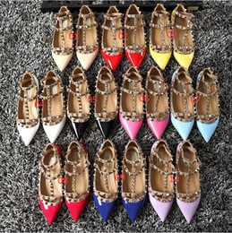 Wholesale Studded Sandals Fashion Pointed - Genuine leather Strap Studded Women Flats Shoes Pointed Toe Ankle Wrap Rivets Sandals patent Leather flats Shoes Ladies 2017 New Arrival
