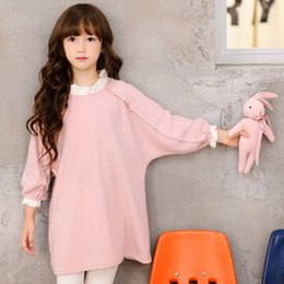 Wholesale Girls Dress Wholesales Korea - New Korea Girls Dresses Autumn Long Pearl Bat Sleeve big girl Princess Dress Sweet Fashion Childrean Dress Navy Blue Pink Party Dress A7218