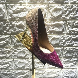 Wholesale Black Gold Glitter Pumps - New Arrival JC Romy Shoes for Womens Dress ShoeNavy and Silver Coarse Glitter Degradé Pointy Toe High Heels Pumps Wed Shoe for Bride Korean