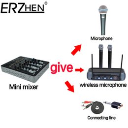 Wholesale Dj Audio Mixers - Wholesale- Audio Mixer Console with USB 4 Channel Mixer Sound Console DJ Equipment   48V Phantom Power Supply 4F with Bluetooth