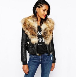 Wholesale Short Black Leather Coats Women - Woman Short Jacket with Fur Collar Black Imitation Leather Leather Jacket Women Black Leather Female Long Sleeve Jacket 2017 Winter Coat