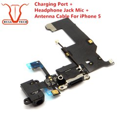 Wholesale Apple Headphone Replacement - Charging Port Dock USB Connector Flex Cable For iPhone 5 Charger with Headphone Jack Mic Antenna Cable Audio Jack mic Ribbon Replacement