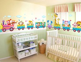 Wholesale Kid S Stickers - Funny Cute Baby Kid s Bedroom Decor Childrens Jungle Animal Train Childrens Printed Wall Art Vinyl Stickers