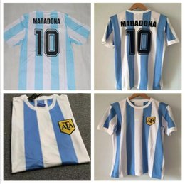 Wholesale Vintage Football Shirt - Soccer Jerseys 86 Argentina Retro Soccer Jersey Maradona 1986 Vintage Throwback Classic Argentina Maradona Football Shirts