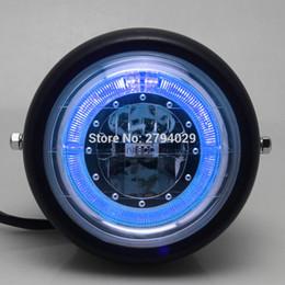 """Wholesale Blue Led Halo - Free Shipping Black Motorcycle Blue HALO Ring LED 6 1 2"""" Headlight For Harley Bobber Angel Eye"""