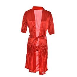 Wholesale White Babydoll Long Lingerie - Wholesale- Women Robes Long Red White Black Sexy SILK Kimono Dressing Gown Bath Robe Babydoll Lingerie Nightdress