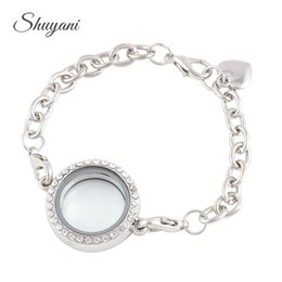 Wholesale Round Photo Lockets Silver Plate - 25mm Round Shape Openable Rhinestone Magnetic Photo Glass Living Memory Locket Bracelet Floating Locket Bracelet Bangles