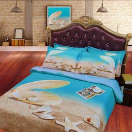 Wholesale Aqua Print Comforter - JF-124 4pcs set Aqua blue ocean bedding sets king size 3D shell pearl quilt covers queen bedclothes single bedspread kids adult