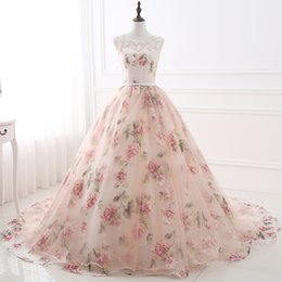 Wholesale Beautiful Prom Dresses Ball Gown - Beautiful Scoop Neck Printed Flower Prom Dresses 2017 Lace up Back Appliques Chapel Train Prom Gowns Quinceanera Dresses