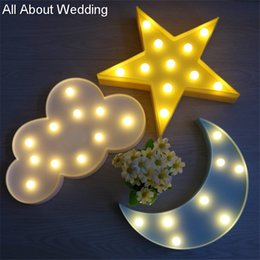 Wholesale Christmas Decorations For Cakes - Lovely Cloud Light 3D Star Moon Wedding Decoration Night Light LED Cute Marquee Sign For Baby Children Bedroom Decor Kids Wedding Gift