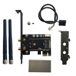 Wholesale M Brackets - Wholesale- M.2 NGFF TO PCI-e 1X 8X 16X Desktop WIFI WLAN CARD Bracket Tray Adapter 2DB Antenna for Intel 7260 7265 8260 ac PCIe Mini Card
