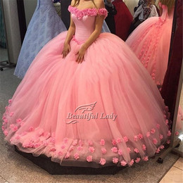 Wholesale Pink Wonderful Ball Gowns - Pink Ball Gown Prom Dresses 2017 Wonderful Flowers Tulle Boat Neck Cap Sleeve Lace Up Back Women Prom Dress Sweet 16 Party Gowns Cheap