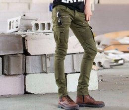 Wholesale Decoration L Painting - New Army Green Bike Jeans Men's Fashion Pleated Stretch Denim Skinny Jeans Zipper Decoration Slim Patchwork Pants Long Trousers