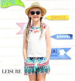 Wholesale Unique Kids Clothes - Big Girls Tee Cotton Vest Tassel Summer Tops Beach Casual kids T-shirts Unique High quality 5-15T Junior's children big girls clothing New