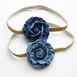 Wholesale Headband Navy - 2017 Navy Blue Camellia Girls Hairbands Cowboy Floral Headbands Handmade Flower Shape Kids Hairbands Princess Hairband 18pcs lot
