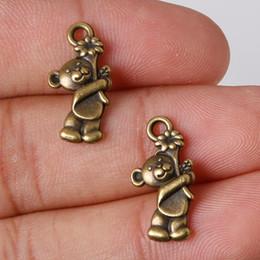 Wholesale Bear Charm Pendant Bronze - Wholesale- Fashion Sale 11pcs lot 19*10mm Antique Bronze Plated Charms Bear Pendants Zinc Alloy Charms Jewelry Findings Fit DIY