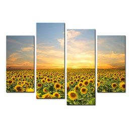 Wholesale pictures sunflowers - 4 Panel Sunflowers Canvas Paintings Landscape Pictures Paintings on Canvas Wall Art for Home Decorations with Wooden Framed Ready to Hang