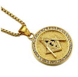 Wholesale Freemason Jewelry - Gold Color Masonic Titanium Steel Necklaces For Women Men Jewelry Rhinestones Freemason Pendant Hip Hop Punk Rock Men Jewelry