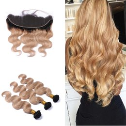 Wholesale Dark Blonde Hair Extensions Weft - Honey Blonde Hair Bundles With Lace Frontal Ombre Dark Root #1B 27 Ear To Ear Full Lace Frontal With Hair Extensions 4pcs lot