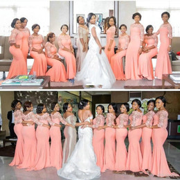 Wholesale Inexpensive Wedding Dresses Sleeves - 2017 Vintage Mermaid Coral Bridesmaid Dresses Lace Illusion Sheer Jewel Sheath Stretchy Floor Length Formal Party Inexpensive Dresses