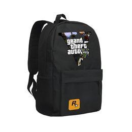 Wholesale Ft Men - GTA5 Backpack V FIVE Grand The FT Auto Black Oxford School Bag For Teenagers Shoulder Bags Grand Theft Auto 5 Mochila