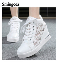 Wholesale Cutout Leather - 6cm High Fashion cutouts lace white canvas shoes hollow floral print breathable platform women casual mesh shoes zapatos mujer