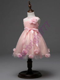 Wholesale Kids Party Gowns Designs - Latest design flower girls wedding dress 3D rose baby girl tutu skirts kids girl's party yarn tulle organza dresses children ball gown