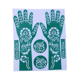 Wholesale Flower Designs For Tattoos - Wholesale- 1Sheet Hot Sale India Henna Temporary Tattoo Stencils Flower Design For Hand Leg Arm Feet Body Art Decal 23*27cm