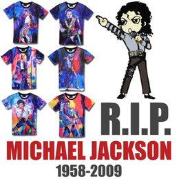 Wholesale Flashing Paint - Wholesale- Raisevern Produced To Commemorate Michael Jackson Painting Print T Shirt Men Women Camiseta T-shirt MJ Dancing Top Tee Costume