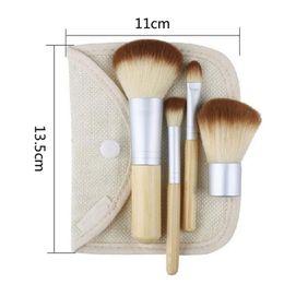 Wholesale Make Up Bag Sets - 4Pcs Set Kit wooden Makeup Brushes Beautiful Professional Bamboo Elaborate make Up brush Tools With Case zipper bag button bag Free DHL