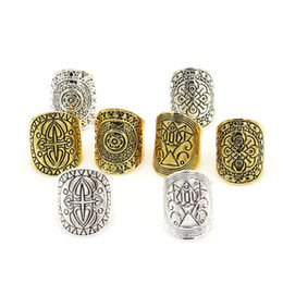 Wholesale Men Stainless Steel Carved Rings - Vintage Antique Silver Carved Totem Knuckle Rings Bohemian Wide Design Geometric Finger Ring For Men Women Jewelry