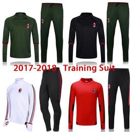 Wholesale Men Fashion Jogging Pants - free shipping 17 18 AC Soccer jerseys Men's Jackets+Pants Sport Clothes Jogging Football Training Suit Fashion Outerwear Tracksuit