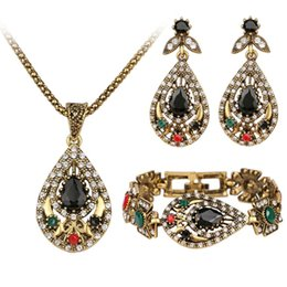 Wholesale Unique Tin Gifts - Unique Gold 3 Pcs Vintage India Jewelry Sets Hot Sale Crystal Hollow Out Geometric Statement Necklace Bracelets Earrings Set