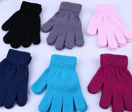 Wholesale kids cotton finger gloves - hot winter gloves for kids winter gloves mittens children Mitten Girl Boy Kid Stretchy Knitted glove multicolors cotton knitted gloves Free
