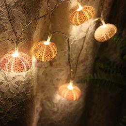 Wholesale Craft Sea Shell - Free Shipping(1pcs lot)Pink Sea Urchin LED Light String Natural Shell Wedding&Christmas Decor Handmade Craft Party Supplies