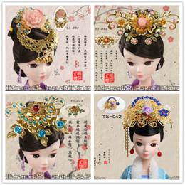 Wholesale Kurhn Doll Chinese - Hairpin Headwear Chinese Ancient Costume Jewellery Handmade Metal Headdress for KURHN OB27 Bjd Doll Accessories Girl Toys TS-037