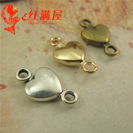 Wholesale Materials For Bracelets - 15*8MM Antique Bronze heart connector charms for bracelet, metal gold dangle vintage silver pendants for necklace, jewelry making materials