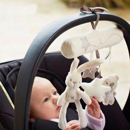 2019 vestidos de novia de felpa rosa Plush Rabbit Stroller Toys Baby Hanging Stroller Toys Campana de mano Niños Infantil Recién Nacido Animal Perro Star Bear Tinkle Juguetes WX-T64