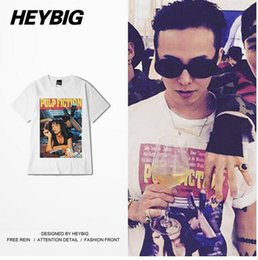 Wholesale Korean Men Fashion Shirt Casual - Korean GD ins Clothing Pulp Fiction printed Tee shirts HEYBIG Swag Tops American Street Fashion T-shirt Hiphop style China SIZE