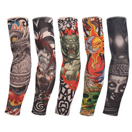 Wholesale Sun Sleeves For Men - Wholesale- 1 Pc Color Random! New Fake Tattoo Elastic Arm Sleeve Arm Stockings Sport Skins Sun Protective For Cool Men & Women