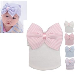 Wholesale Hair Hats Bows - Baby Cotton Hat With Cute Hair Bow Child Beanie Crochet Fashion Hat Todder KId Cotton Hats