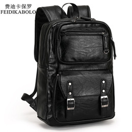 Wholesale Backpack Leather Travels - 2017 POLO Male Leather Backpack Men travel Backpacks Mochila Masculina Black Men's Bookbag laptop backpack Mochilas Para Hombre