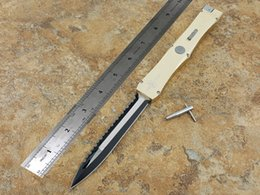 Wholesale Double Saw - Microtech Nemesis IV big sword, double front edge, saw blade, pull rod structure, tyrant gold Hunting knife